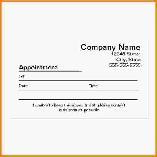 Appointment Cards Template.appointment Reminder Business Card ...