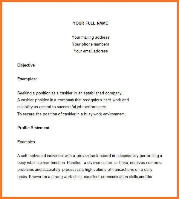 resume for cashier | sow template