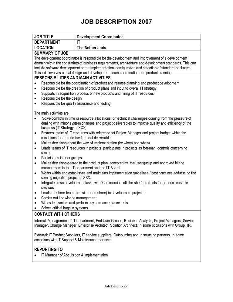 Job Description - Development Coordinator