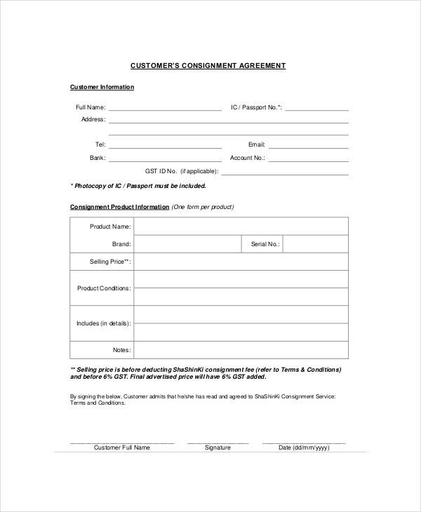 Consignment Agreement. Consignment Agreement Template - Download ...