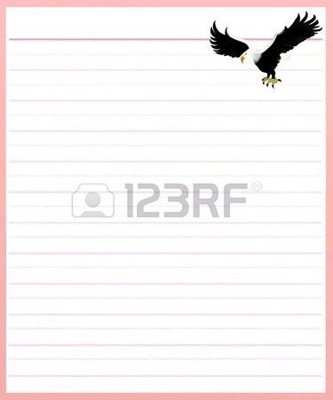 Hand Drawing Of Two Beautiful Eagle On A Blank Pink Lined Paper ...