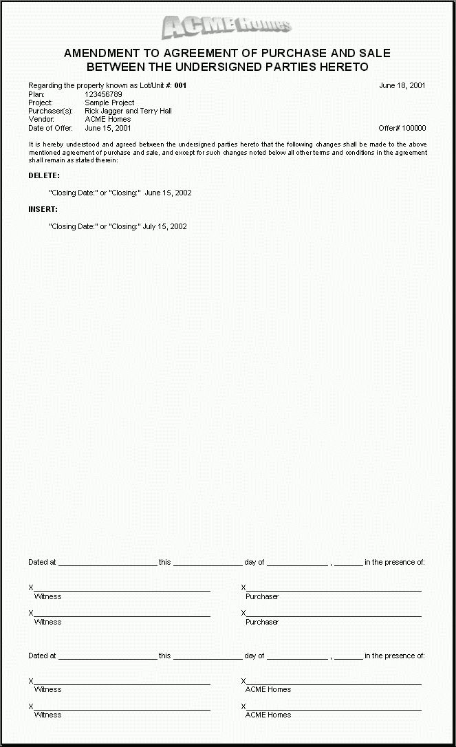 H.O.M.E.S. Sample Document: Amendment to Purchase Agreement ...