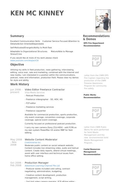 freelance photographer resume sample