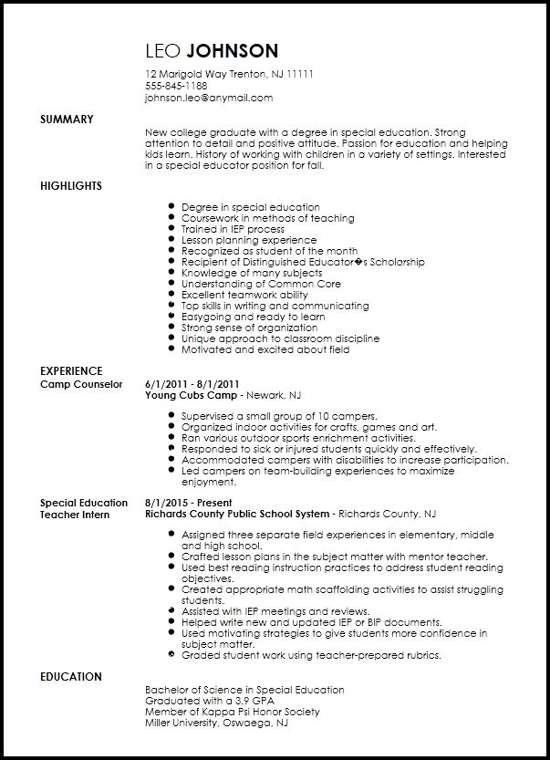 Free Entry Level Special Education Teacher Resume Template | ResumeNow