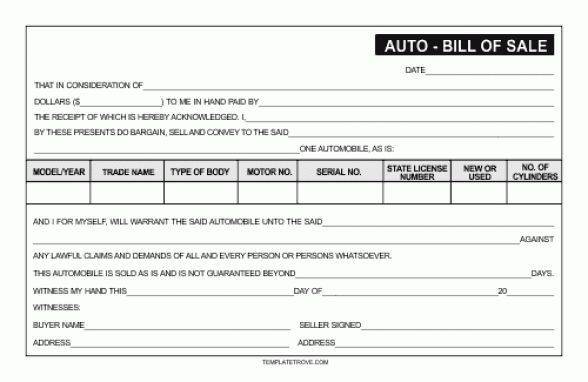 Top 5 Free Samples Of Bill of sale Templates - Word Templates ...