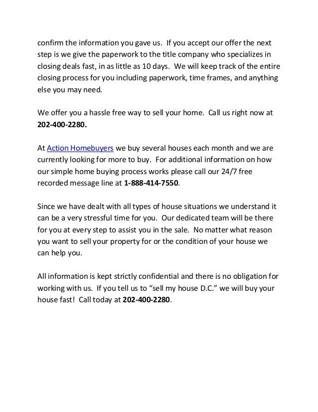 Sell my house D.C. - We will make you an offer today!