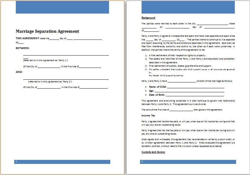 MS Word Marriage Separation Agreement Template | Word Document ...