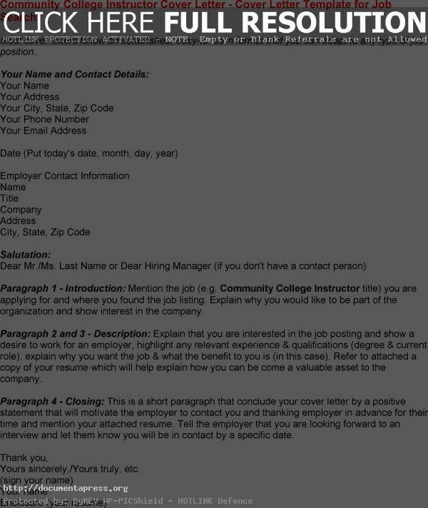 sample college professor cover letter