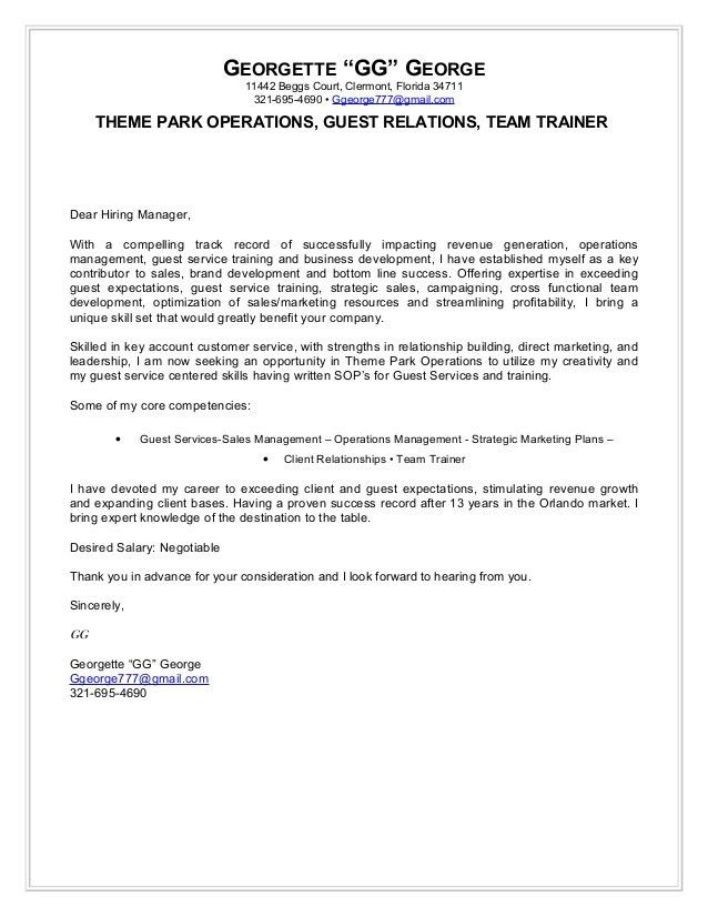 Georgette george cover letter theme park operations