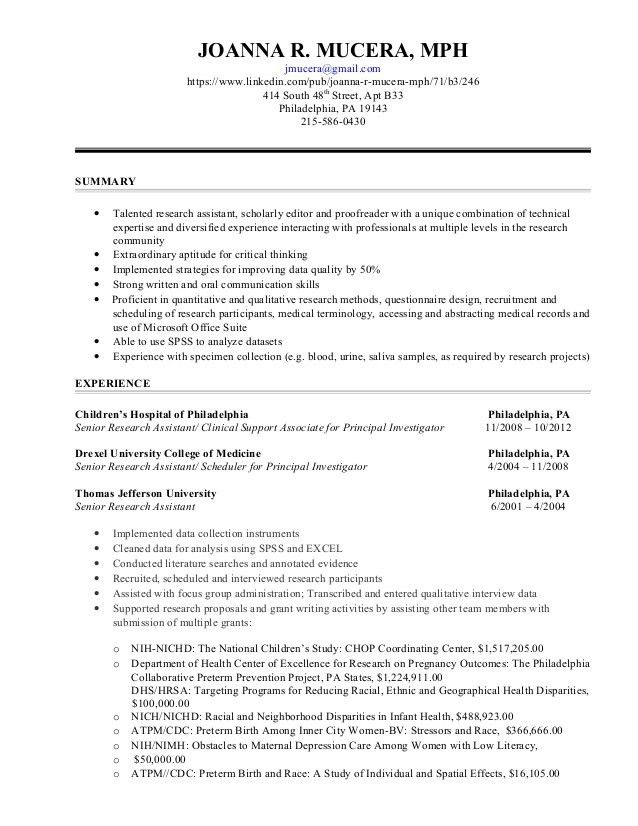 Research Assistant Functional Resume 6-13-2015