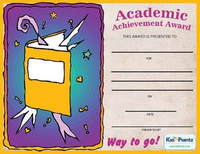 Free Achievement Award Certificates for Kids | Kid Pointz