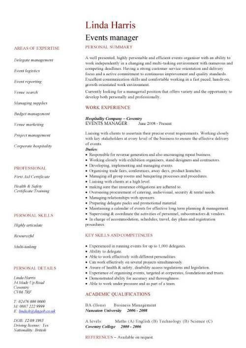 events manager CV sample, proactively selling the venue to ...