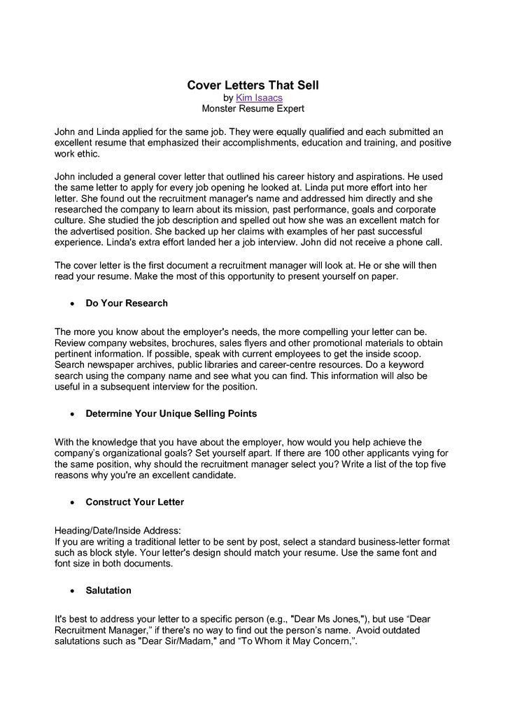 Examples Of Resumes Cover Letters. Monster Cover Letter Free ...
