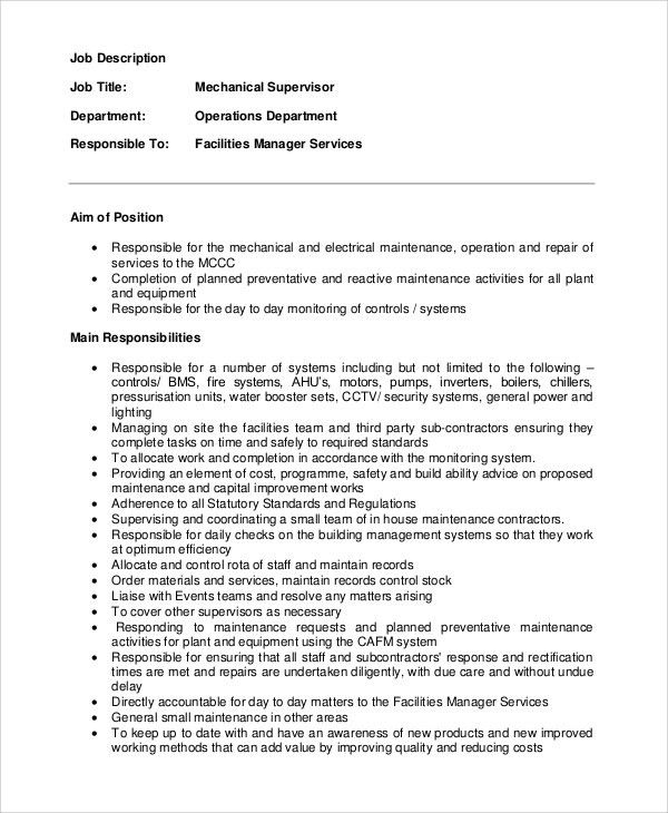Charming Sample Supervisor Job Description   8+ Examples In PDF Nice Look