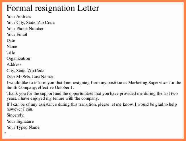 Employee Resignation Letter. Standard Notice Of Resignation Letter ...