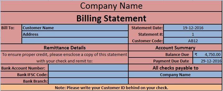 Download Billing Statement Excel Template - ExcelDataPro