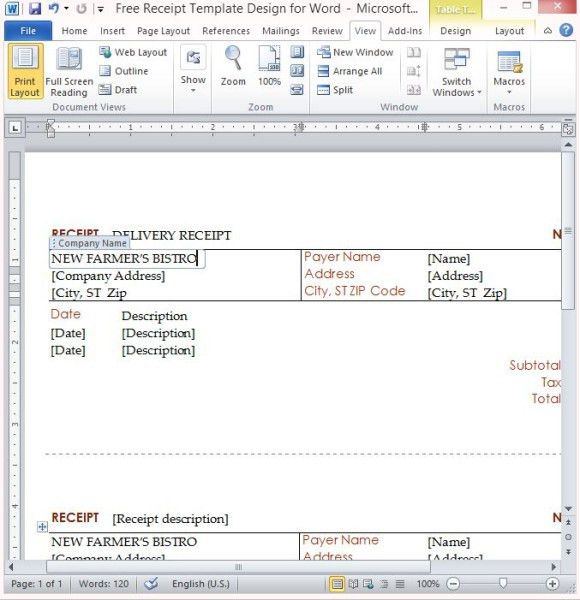 Free Receipt Template Design For Word