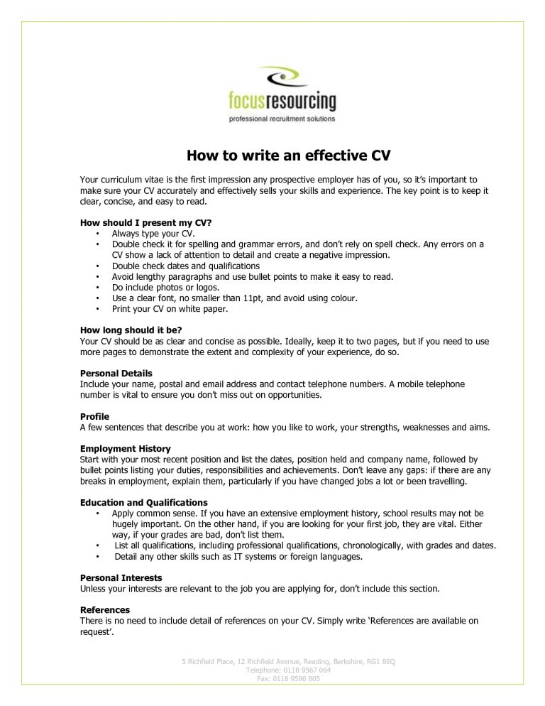 Wonderful Design How To Write An Effective Resume 12 Write My ...