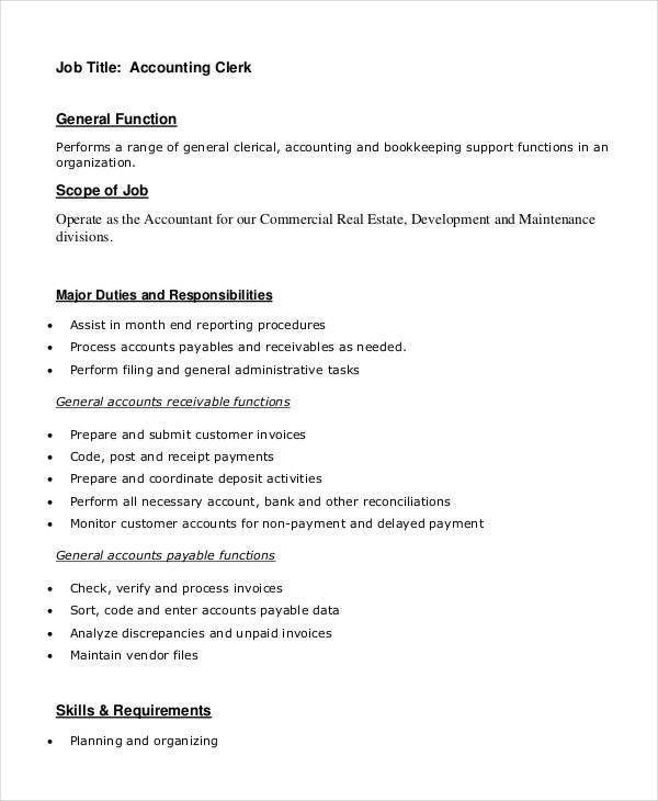Clerk Job Description   11+ Free Word, PDF Documents Download .