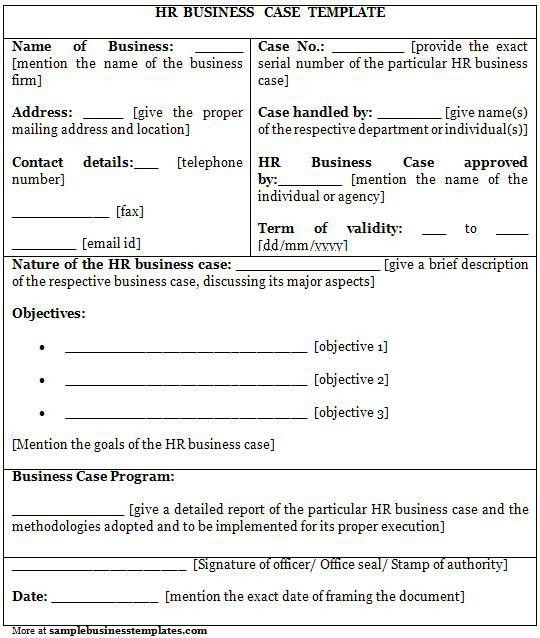 HR Business Case Template | Sample Business Templates