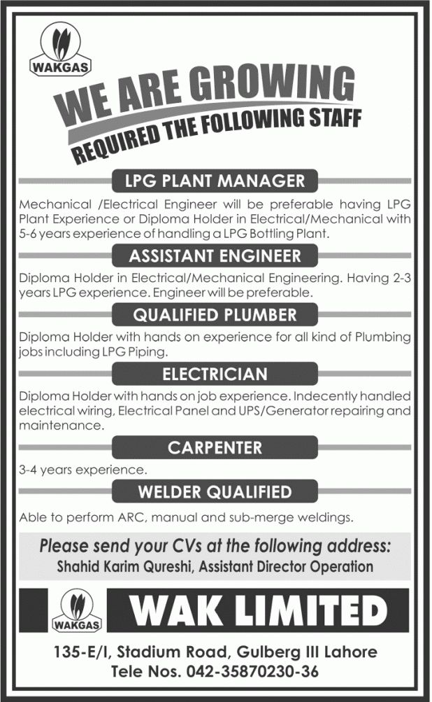 Plant Manager, Assistant Engineer Job in WAKGAS, Qualified Plumber ...
