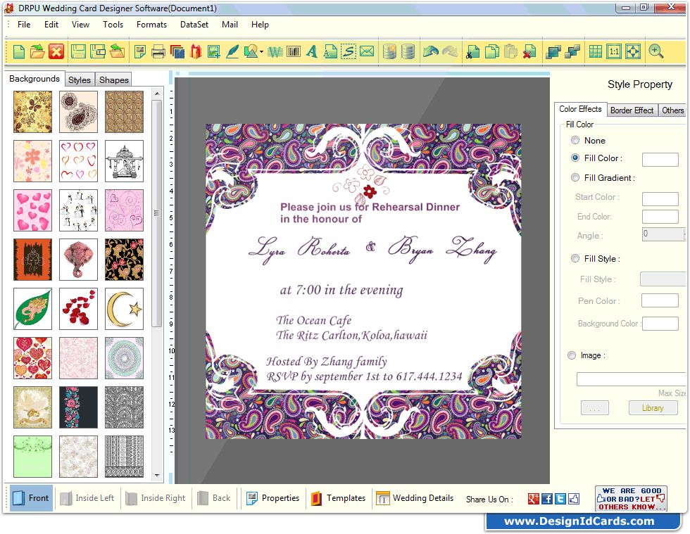 Wedding Card Maker Software designs printable and scanable ...