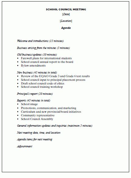 5+ sample meeting agenda | cook resume