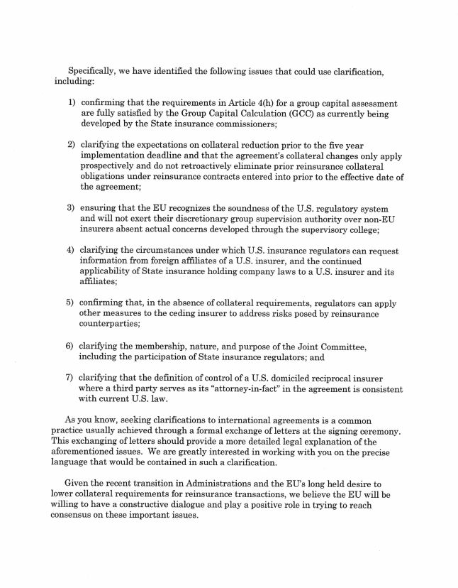 Covered Agreement Letter | Congressman Sean Duffy