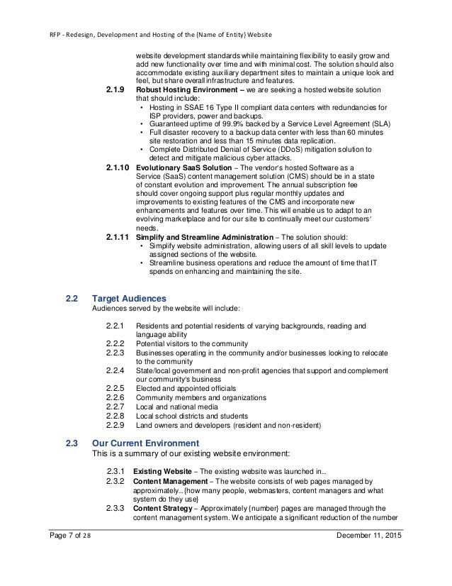 Example RFP Template for Website Design-Development-Hosting for Local…