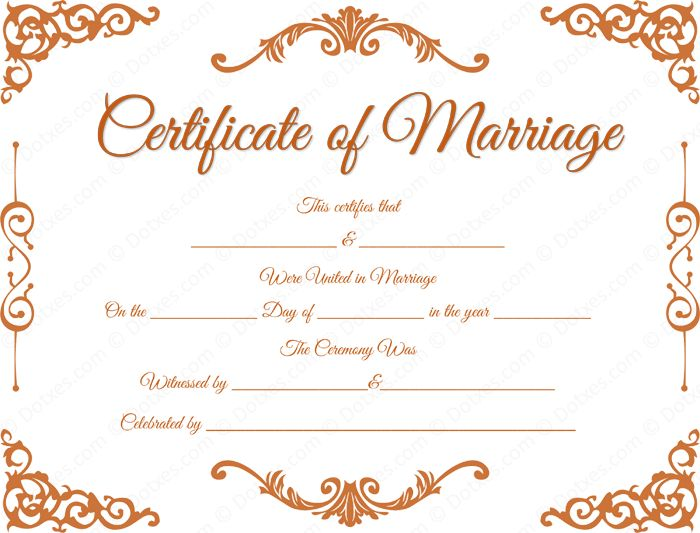 Traditional Corner Marriage Certificate Template - Dotxes
