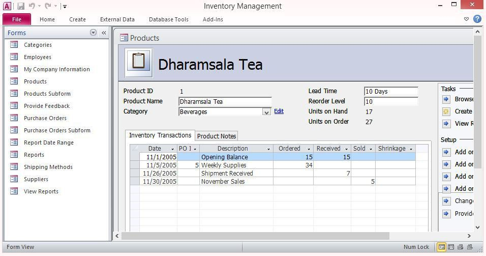 Free Inventory Control Forms Template For Microsoft Access