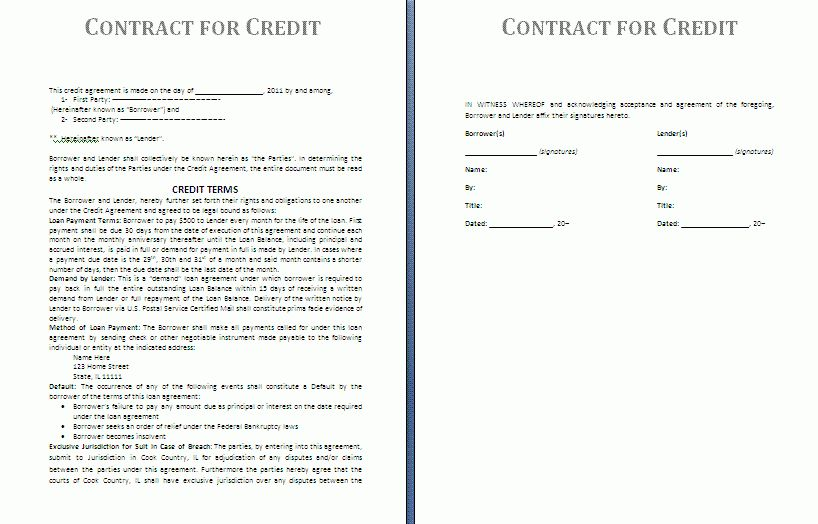 Credit Contract Template | Free Contract Templates