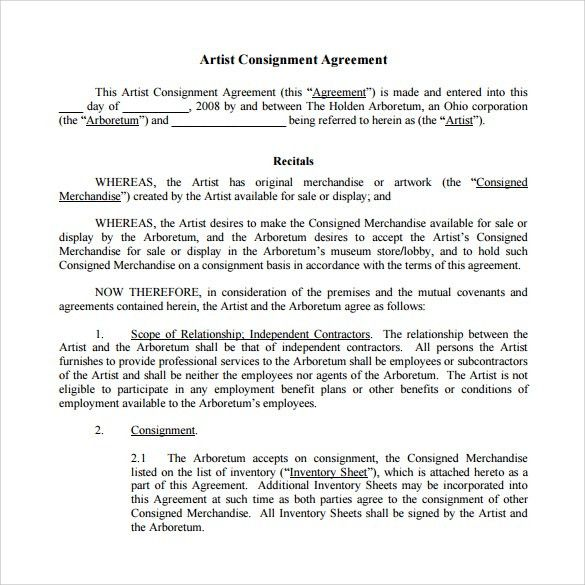 Sample Consignment Agreement - 8+ Example, Format