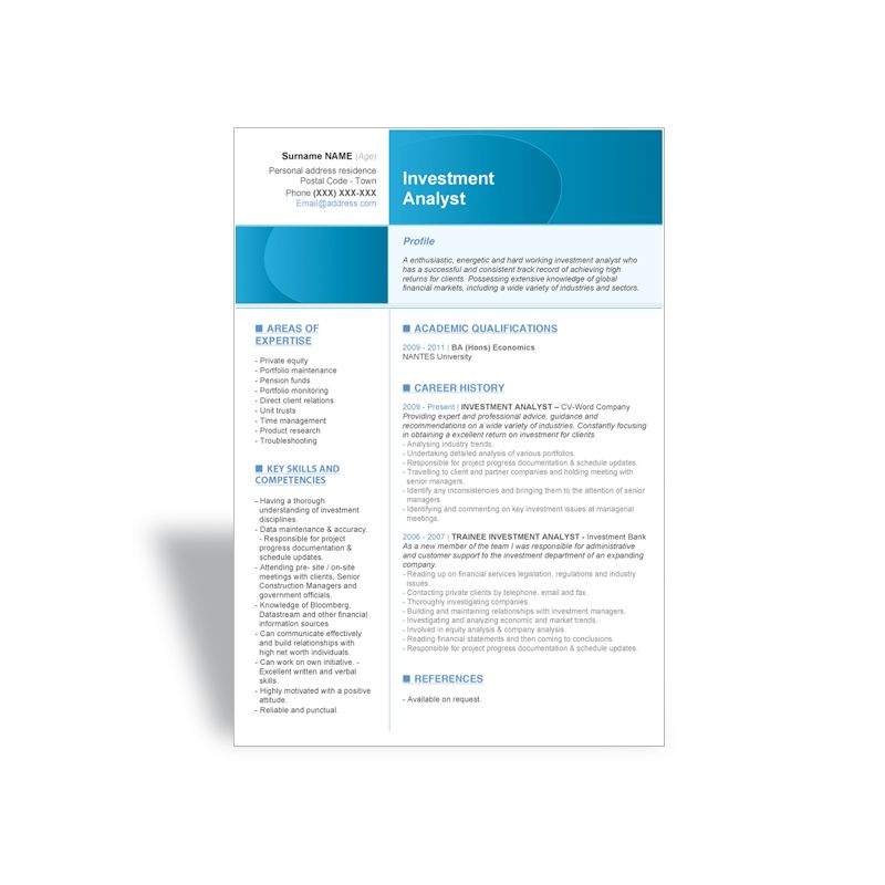 Download word CV Resume template Investment Analyst