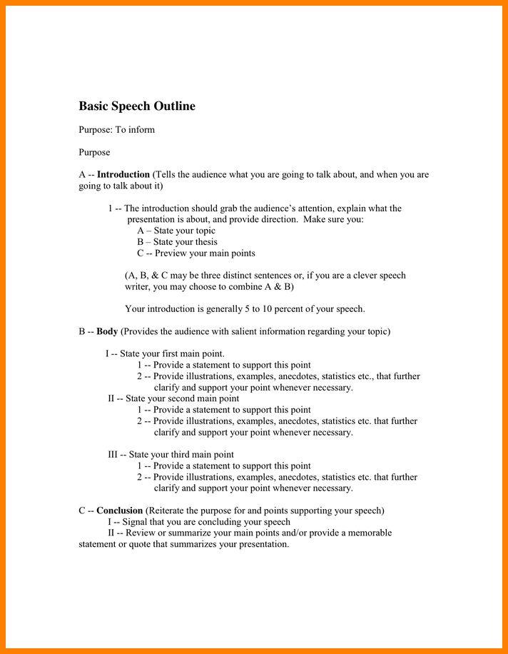 Speech Outline Example Speech Outline Template 9 Free Sample – Presentation Speech Example Template