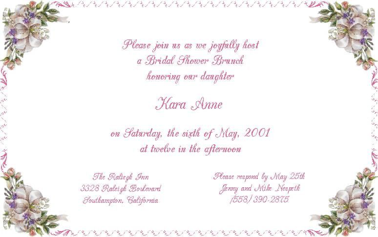 Sample Bridal Shower Invitations - plumegiant.Com