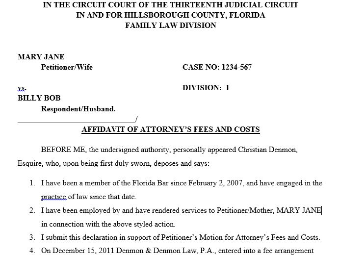 Affidavit of Attorneys Fees -