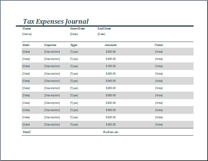 Tax Expense Journal Template | Word Document Templates