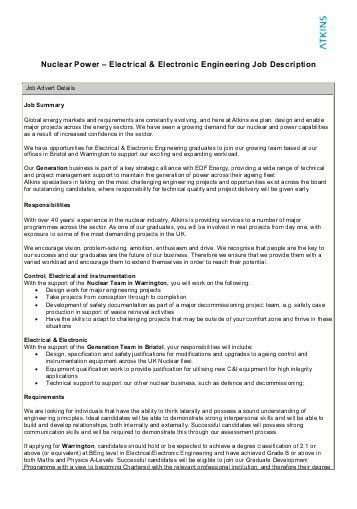 Oil & Gas – Chemical Engineering Job Description - Atkins