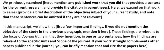 How to write a great cover letter for a scientific manuscript ...