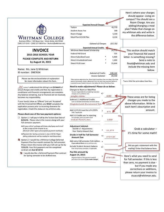 Student Accounts Annual Invoice Example | Whitman College