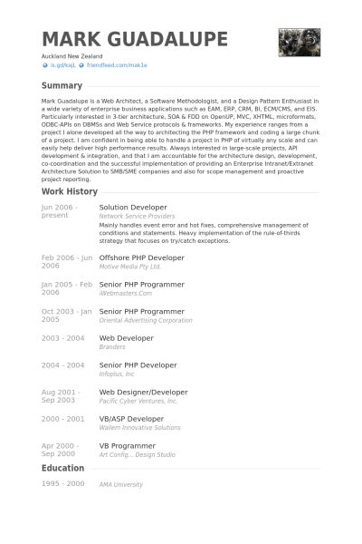 Solution Developer Resume samples - VisualCV resume samples database