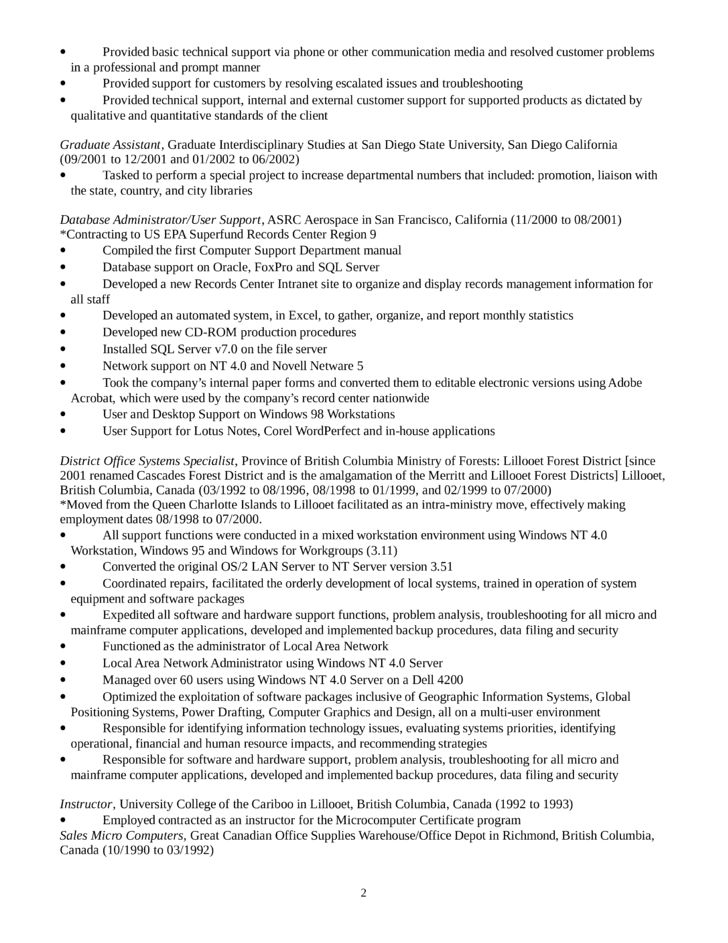 Executive Desktop Support Technician Resume Template | page 2