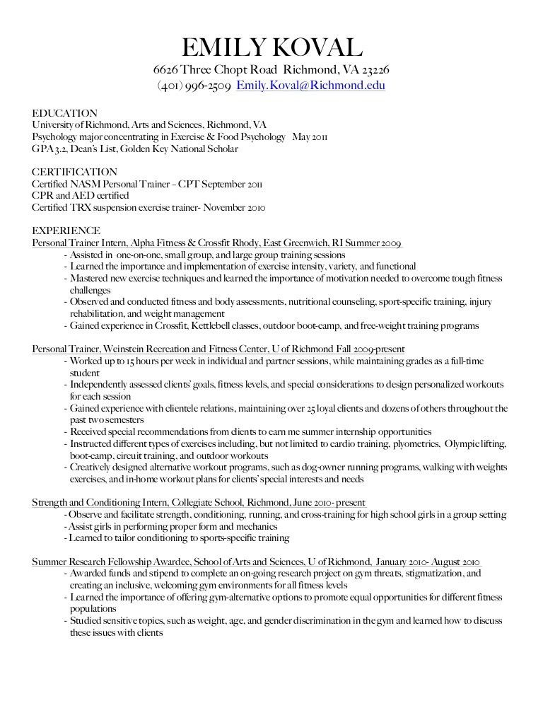 resume for personal trainer - thebridgesummit.co