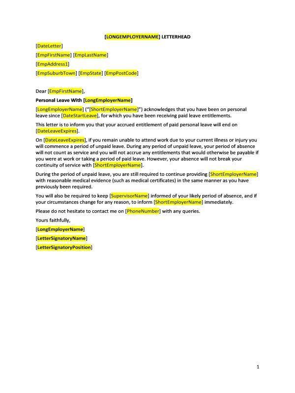 Formal Sick Leave Letter. Sick Leave Request Sample Resume Cover ...
