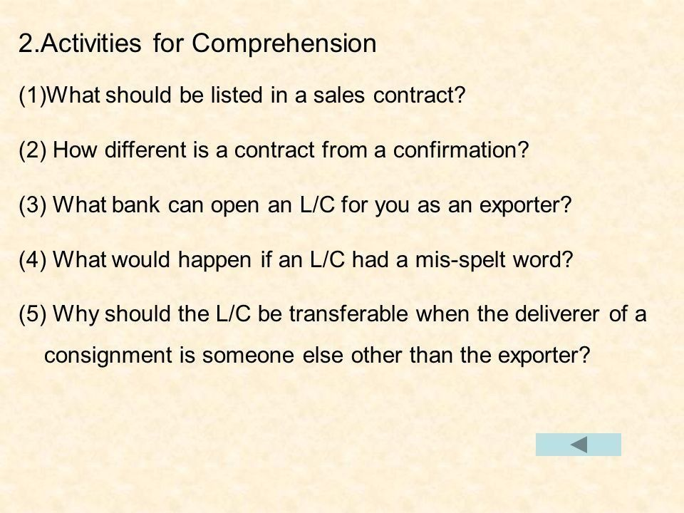 The Form of a Sales Contact 1.Words & Expressions 2.Activities for ...