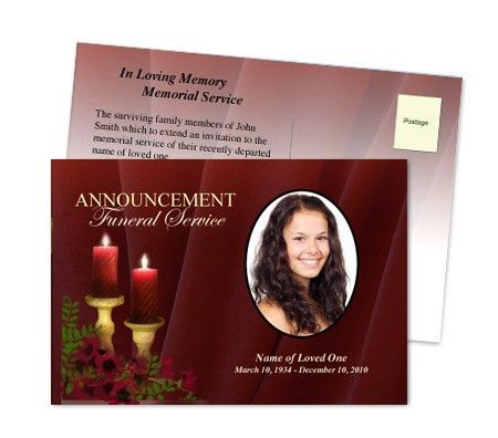 Funeral Announcement Templates | Memorial Service Postcards