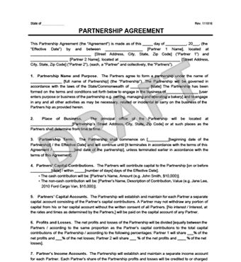 Create a Partnership Agreement - General, Limited, LLP | Legal ...