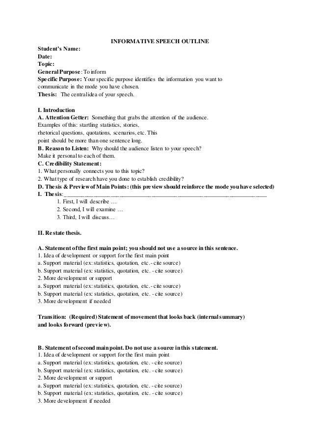 Informative speech outline sample