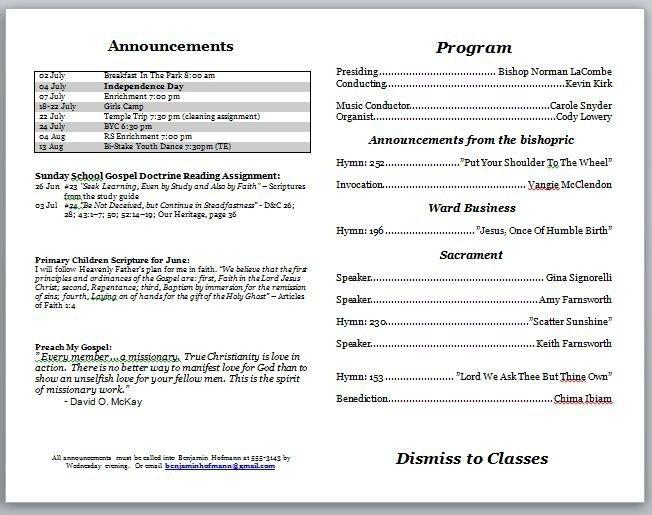 Free Church Program Template. bulletin printing template church ...